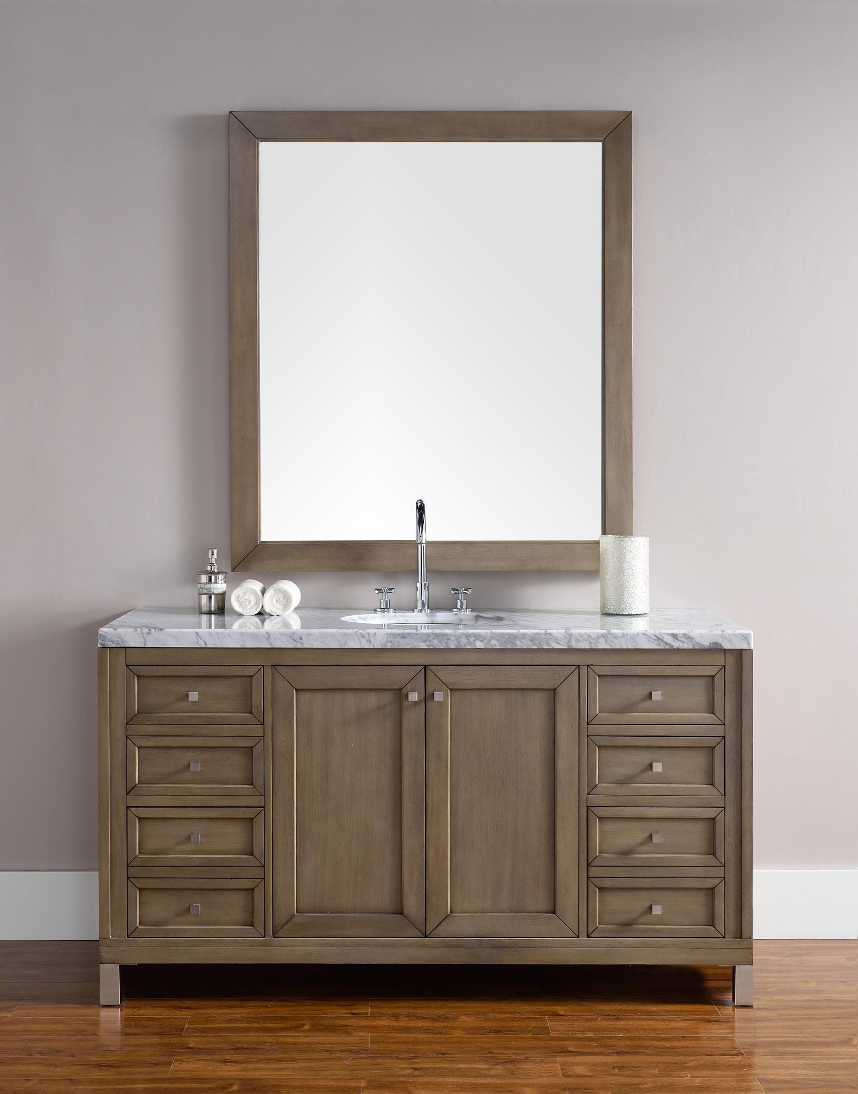 Chicago 60 Single Sink Bathroom Vanity Cabinet White Washed Walnut Finish Carrara Marble Countertop Matching Mirror