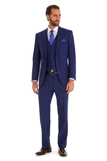 f050013cb49695 Moss 1851 Tailored Fit Bright Blue Mohair Look 3 Piece Suit | Didn't ...