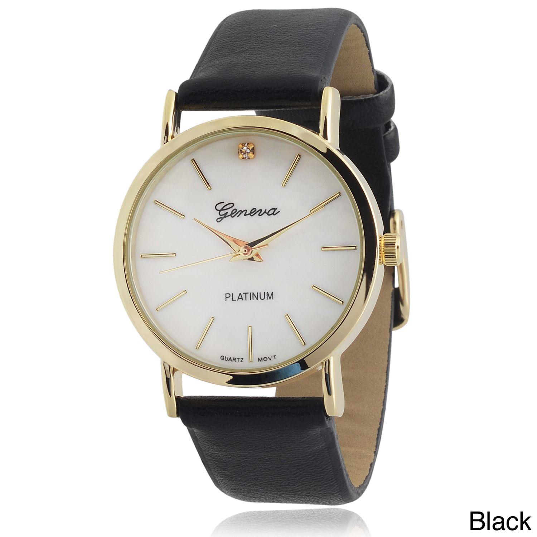 38198c92dcd Geneva Platinum Women s Rhinestone Accent Faux Strap Watch ...