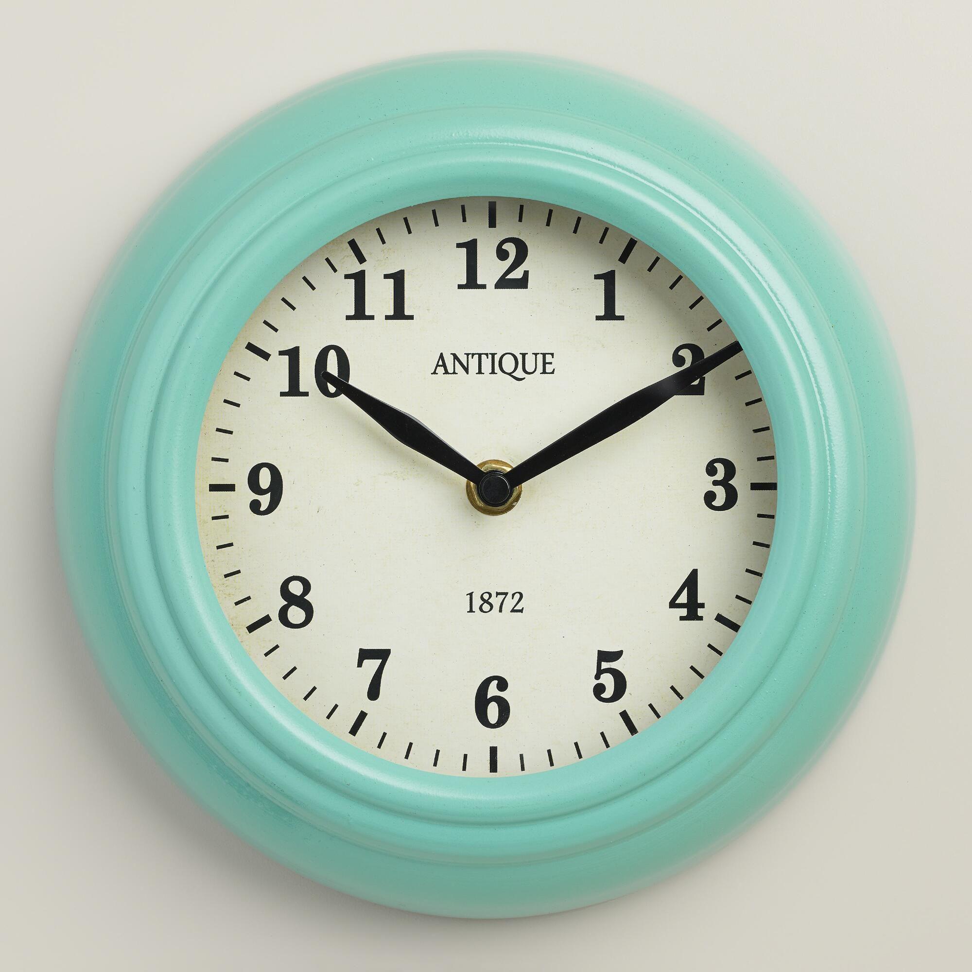 Aqua Retro Wall Clock - World Market