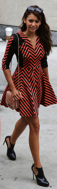 Nina Dobrev:  Dress – Matthew Williamson  Shoes – Rupert Sanderson  Purse – Jimmy Choo
