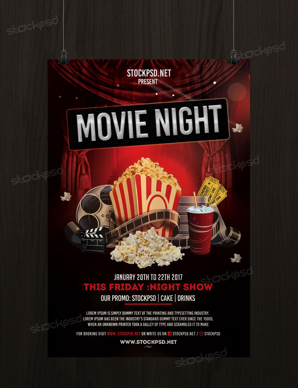 movie night free psd flyer template psd flyers pinterest