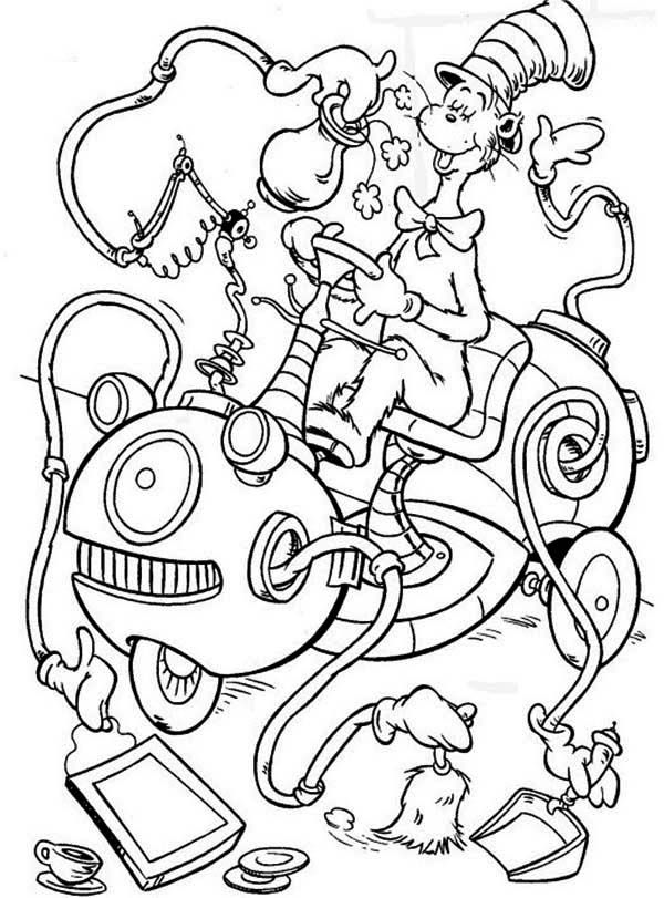 The Cat In The Hat Cleaning Machine Coloring Page The Cat In The Hat Cleaning Machine Coloring Dr Seuss Coloring Pages Witch Coloring Pages Cat Coloring Page