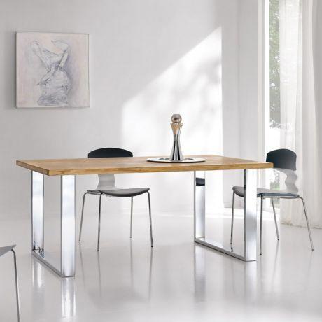 Table Moderne En Bois Chene Et Pietement Metal Chrome 4270 2 Table Moderne Table Bois Table Contemporaine