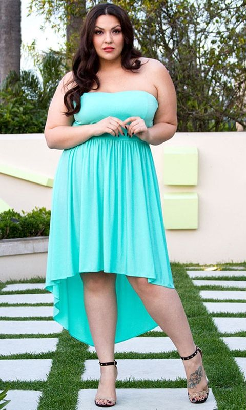 Anya Strapless Dress In Mint From Curvalicious Clothes