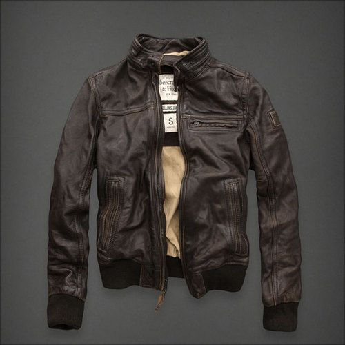 Abercrombie Fitch Rollins Cafe Racer Motorcycle Jacket L Leather Biker