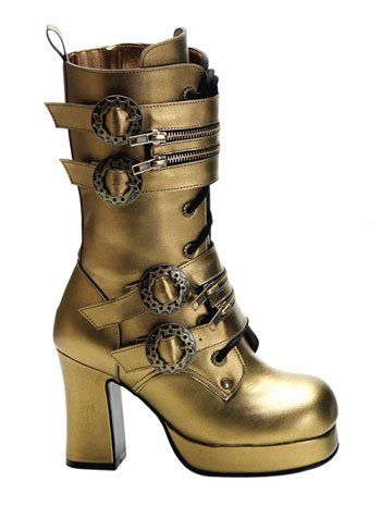 Pleaser  Bronze Lace Up Steampunk Boot