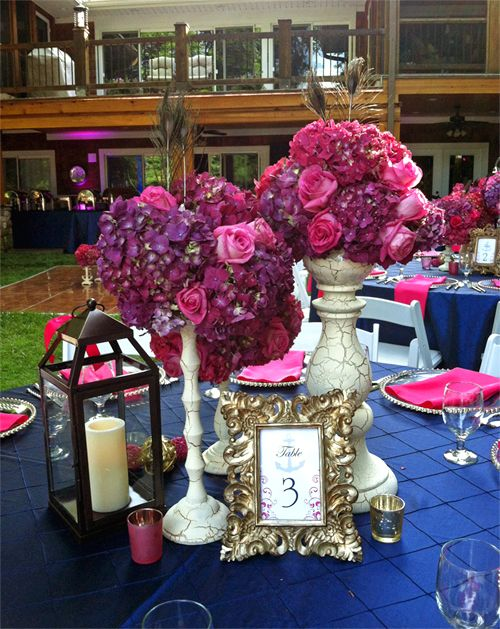 Navy Blue Linens Lanterns Pink Purple Florals And A Touch Of Gold