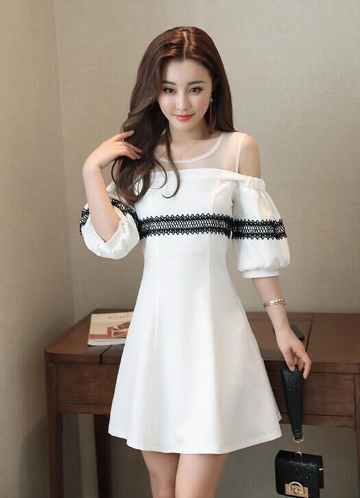 cd785a2536d Hubble-bubble Sleeve Round Neck Shoulder Party Dress in 2019 ...