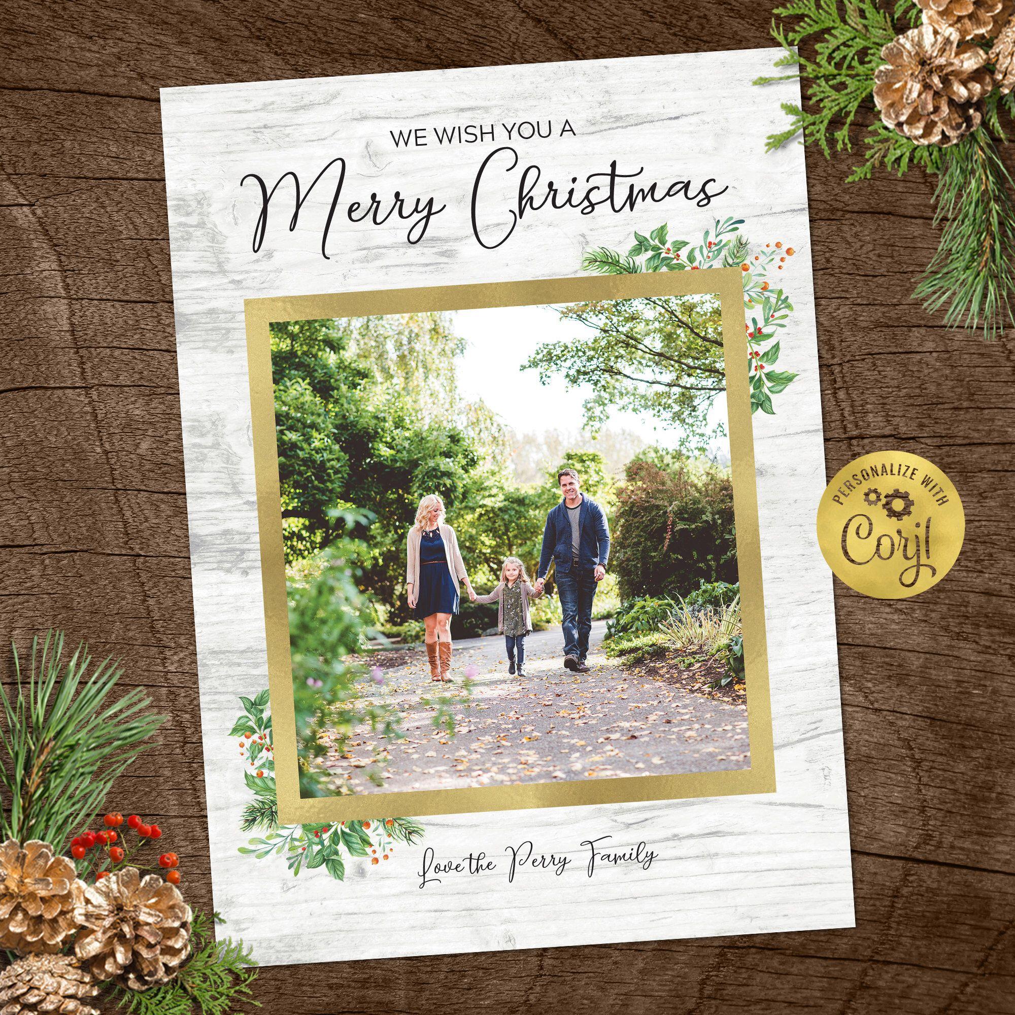 Christmas Card Template Rustic Christmas Photo Card Etsy Rustic Christmas Photo Cards Christmas Card Template Holiday Photo Cards