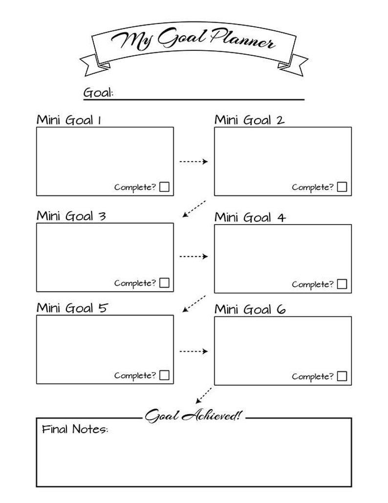 Bullet Journal Goal Planner Printable, Resolutions Planner, New Year Planner, Goal Tracker, Bujo Printable Planner Insert, Goal Setting