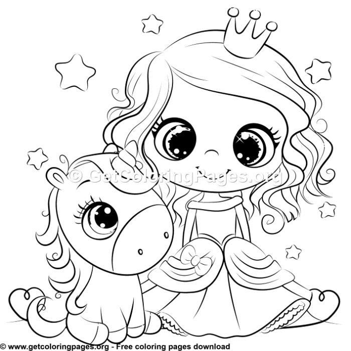 Cute Unicorn and Princess Coloring Sheet | Unicorn ...