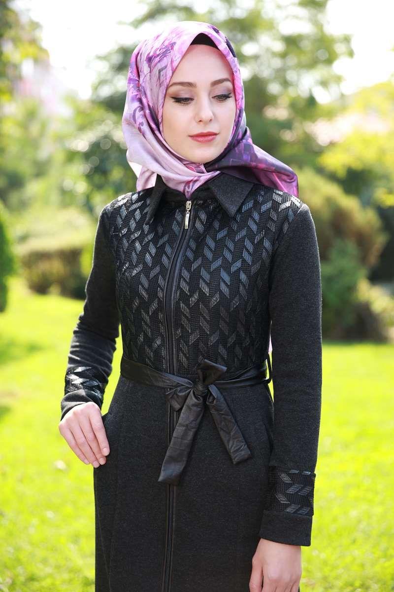 File Deri Detay Fermuarli Ferace Obn707 Siyah Fashion Hijab Fashion Muslim Fashion