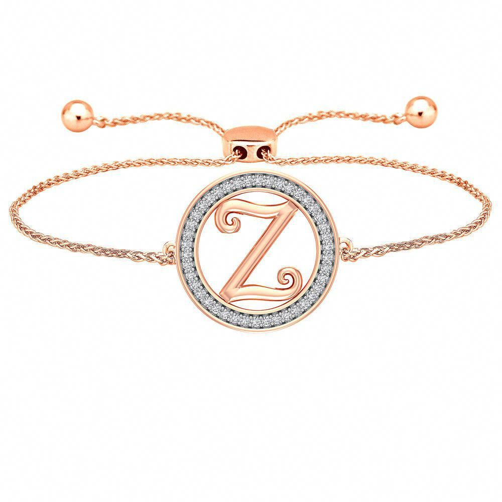 Z Initial 14k Diamond Bracelet Bolo Adjustable Alphabet Letter Mothers Day  Gift  CaratsForYou  Chain e4046fb7a39e