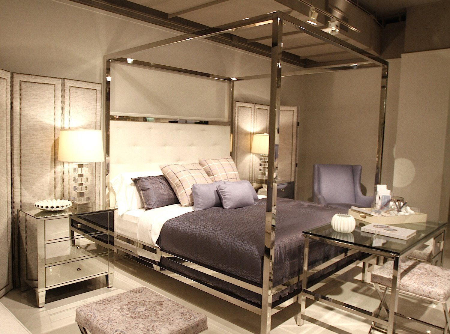 Contemporary Polished Stainless Steel Canopy Bed With