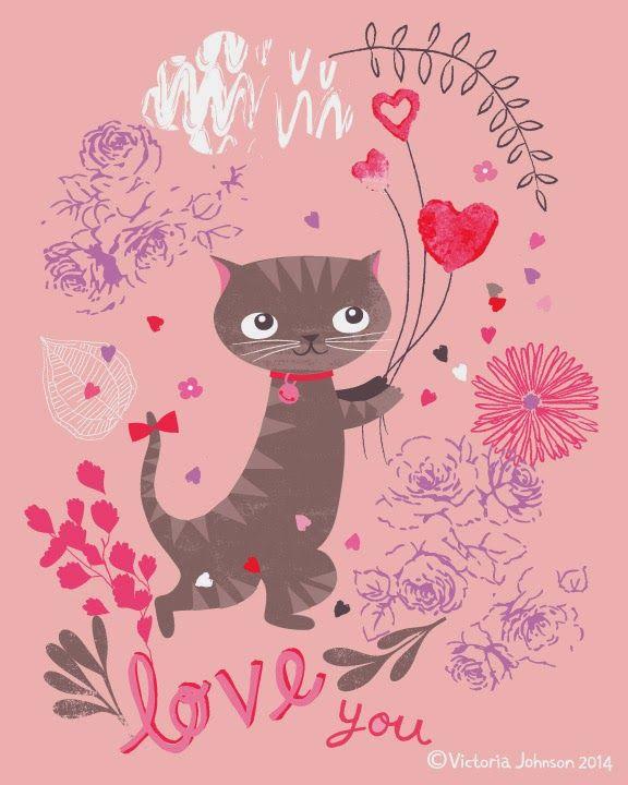 valentine, cat, balloon, greeting card design, surface pattern ...