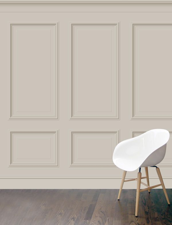 Benjamin Xl Panelling Wallpaper In Clay Colourway Featuring Large Wooden Panels Featured On The Room Set Dining Room Paneling Wall Paneling Wooden Panelling