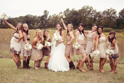 boda-en-el-campo-novia-damas-honor: http://vestidoscortosdemoda.com ...