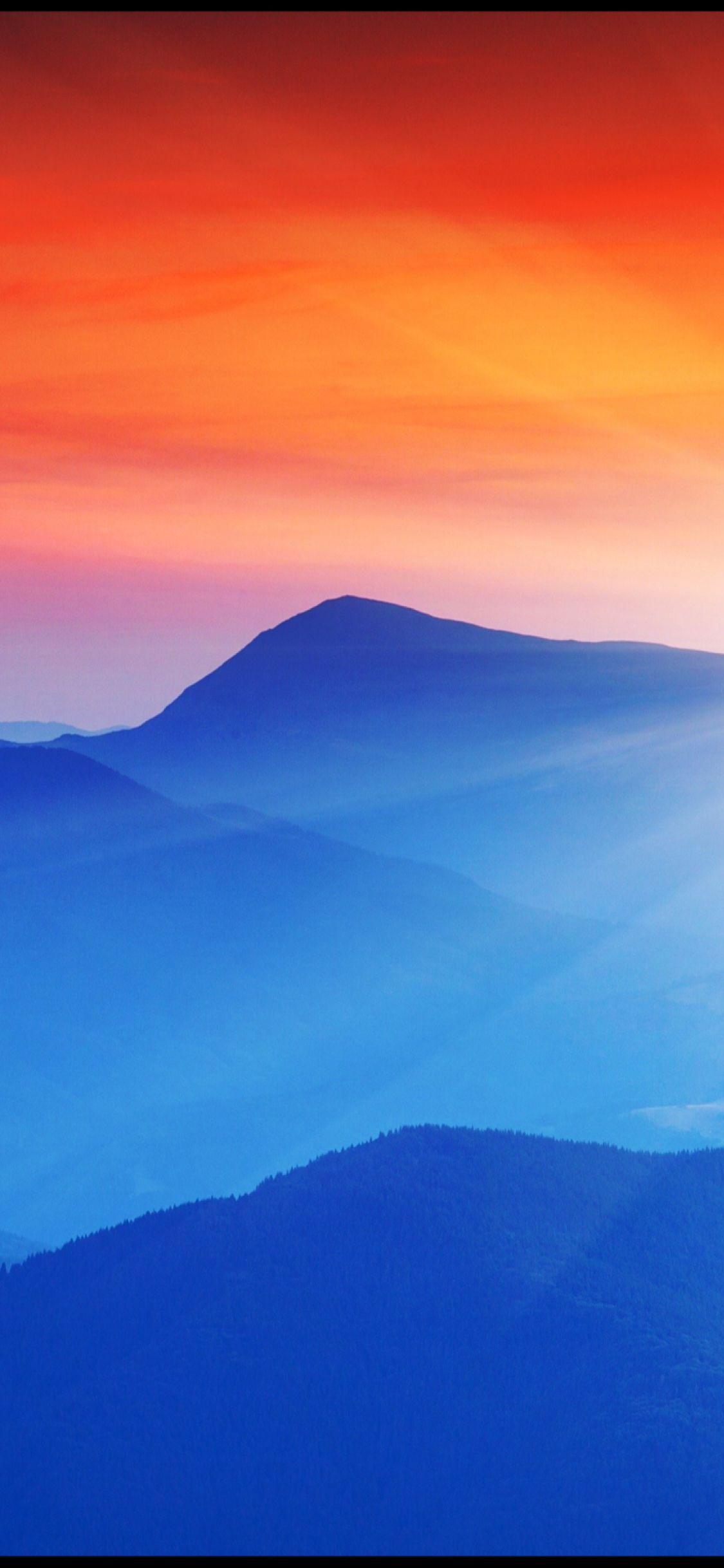 Blue Mountain And Orange Sky Iphone Wallpaper Sky Orange Sky