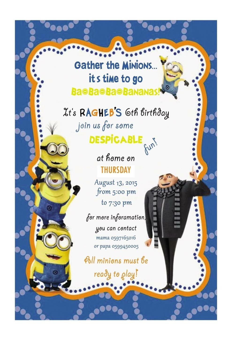 Despicable Me Birthday Party Invitation Card Minions Birthday