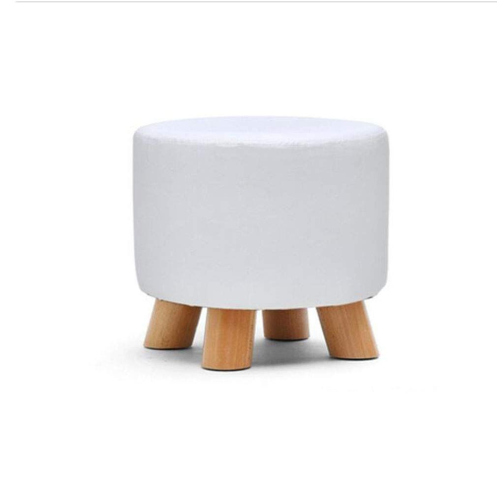 Ycsd Round Footstool Ottoman Pouffe Chair Wooden Support Pu Upholstered Easy To Clean 28xh 25cm Color White In 2020 Round Footstool White Leather Ottoman Pouffe