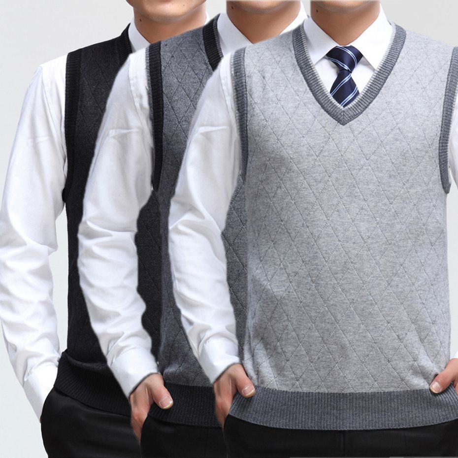 New Men's Casual Wool Sweater Pullover Tops Sleeveless V Neck for ...