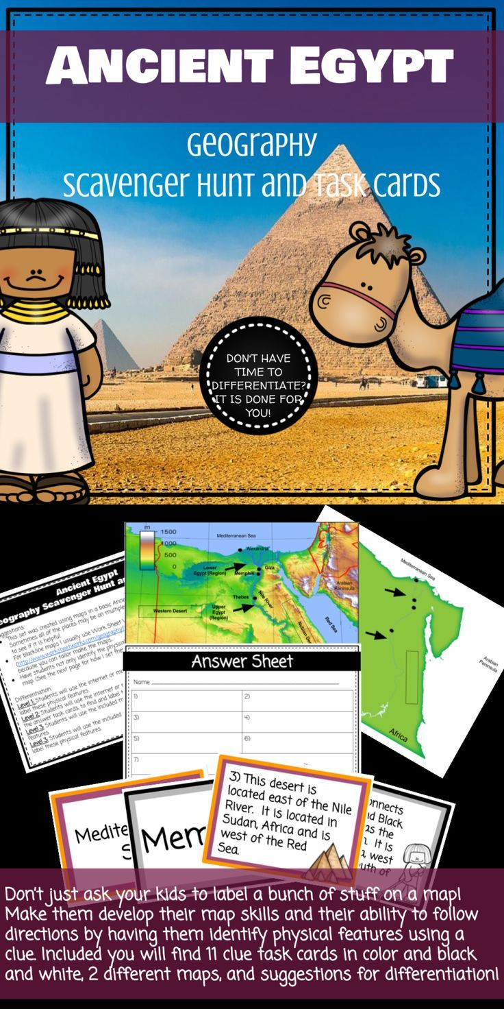 Ancient Egypt Geography Scavenger Hunt And Task Cards Task Cards Egypt Lessons Ancient Egypt