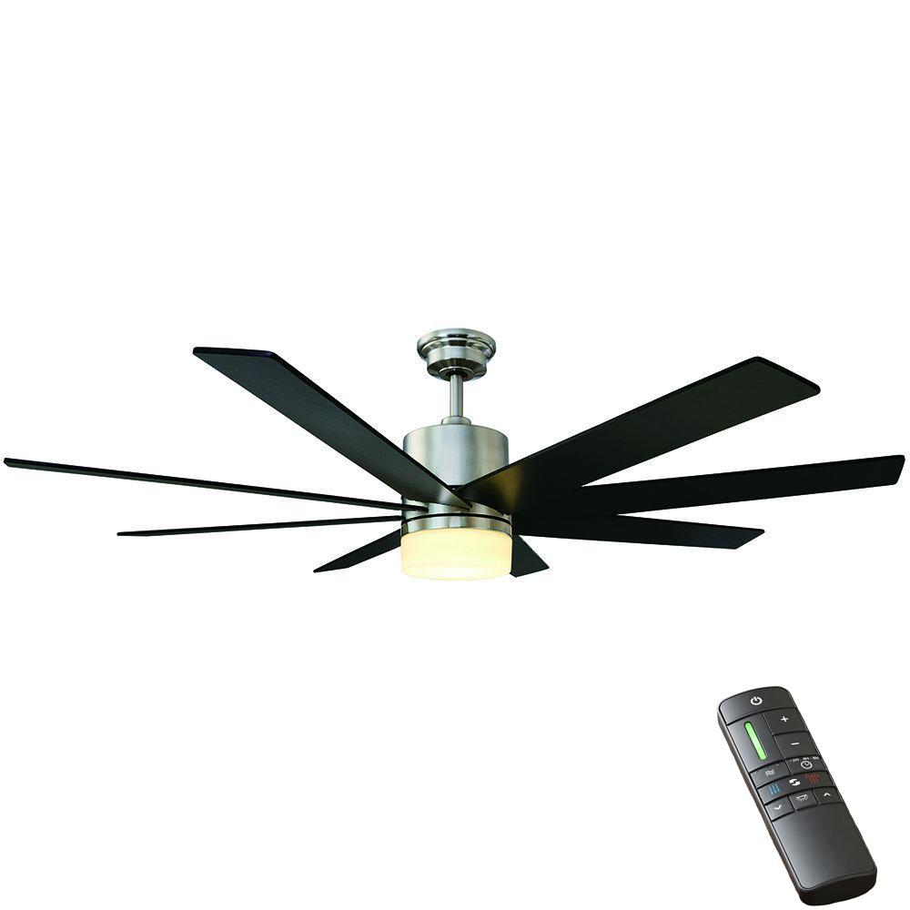 Home Decorators Collection Kingsbrook 60 In Led Indoor Brushed Nickel Ceiling Fan With Light Kit And Remote Control Ceiling Fan Brushed Nickel Ceiling Fan