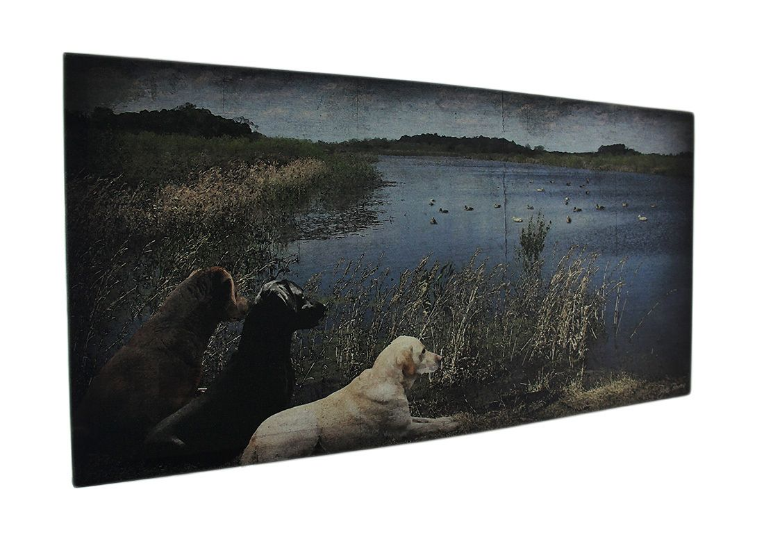 Duck hunting dogs at the lake canvas wall art print x in