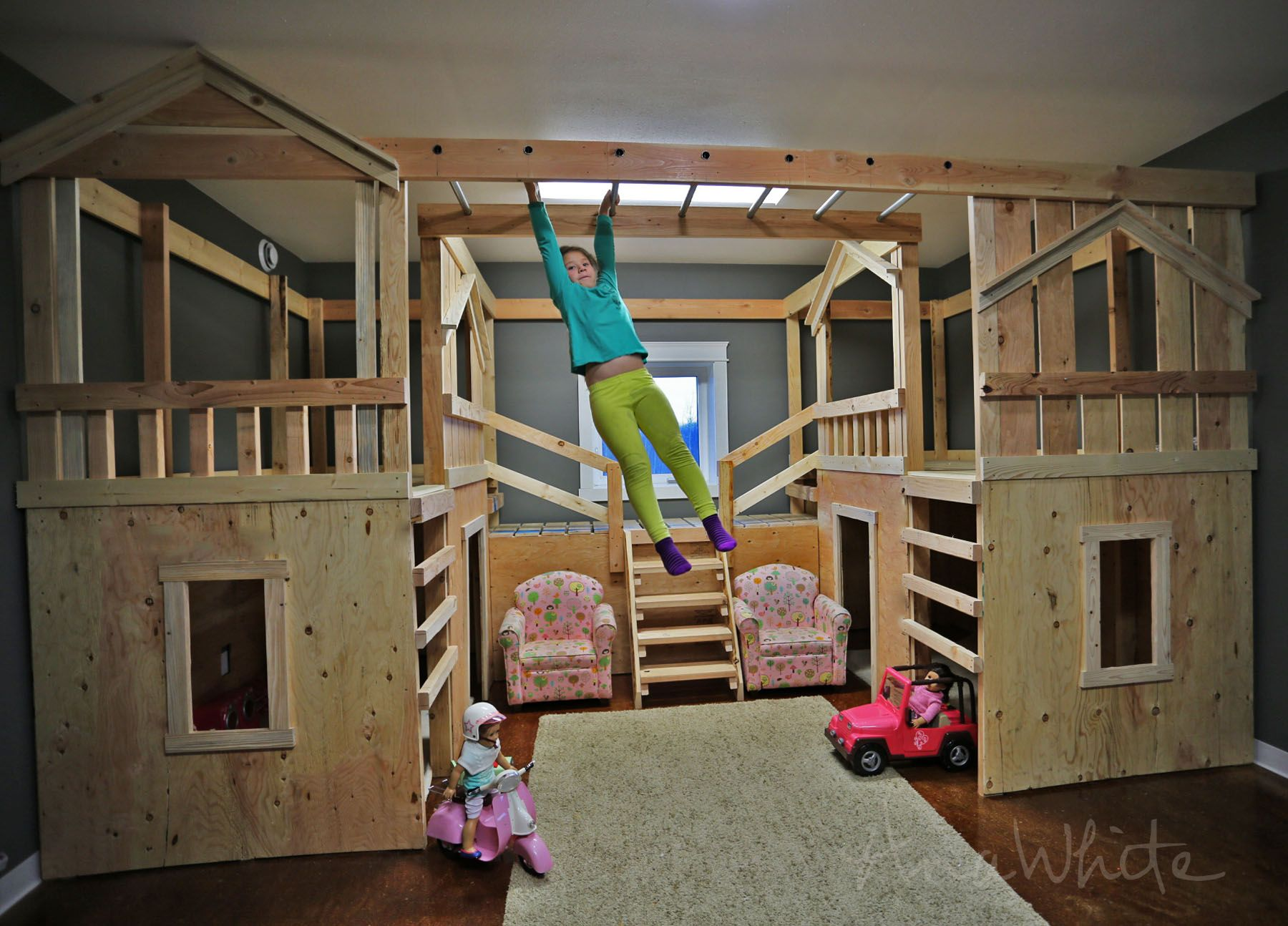 Ana white build a diy basement indoor playground with monkey bars