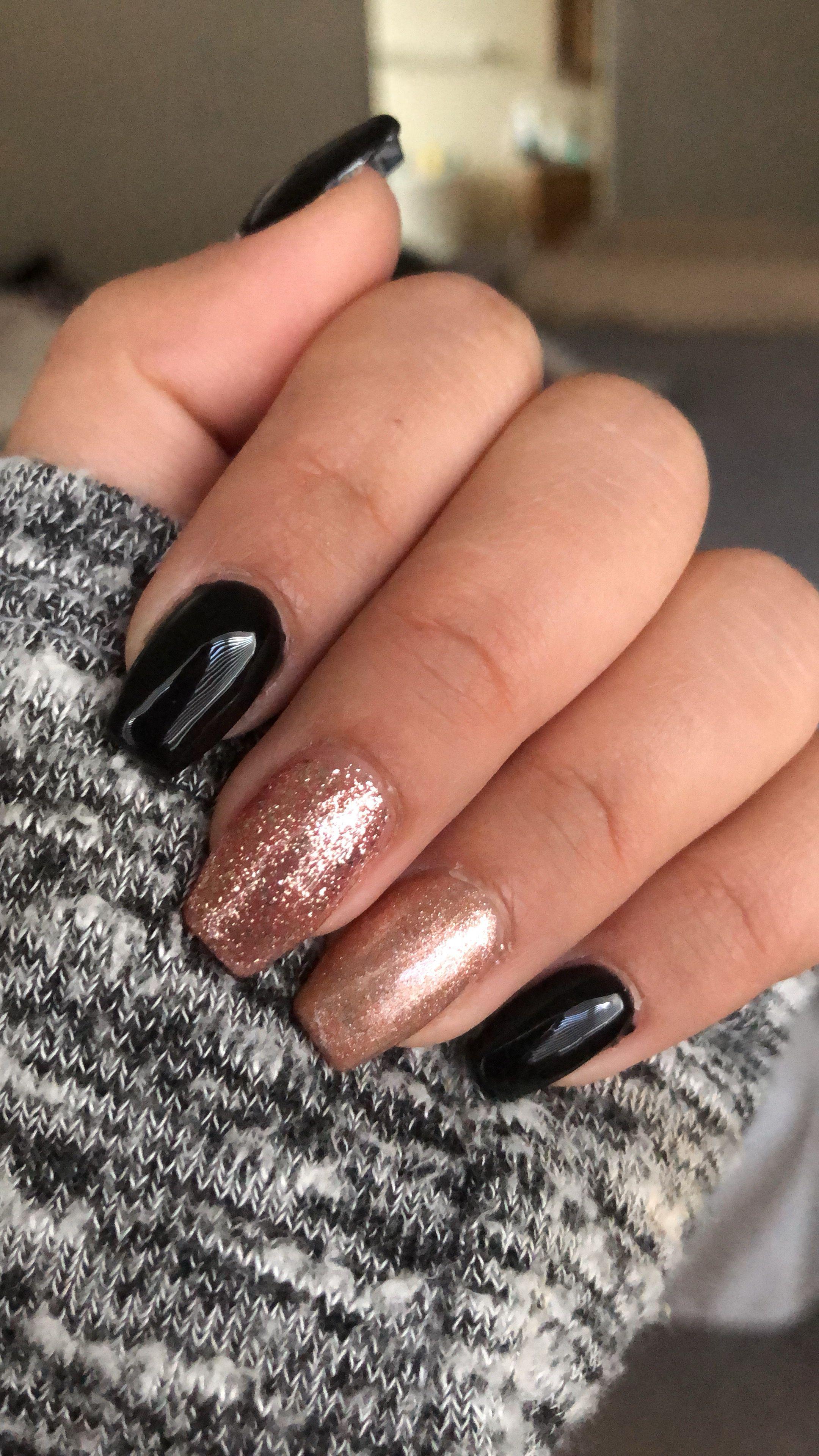 Basic Halloween Nails Rose Gold Nails Glitter Gold Nail Designs Black Gold Nails