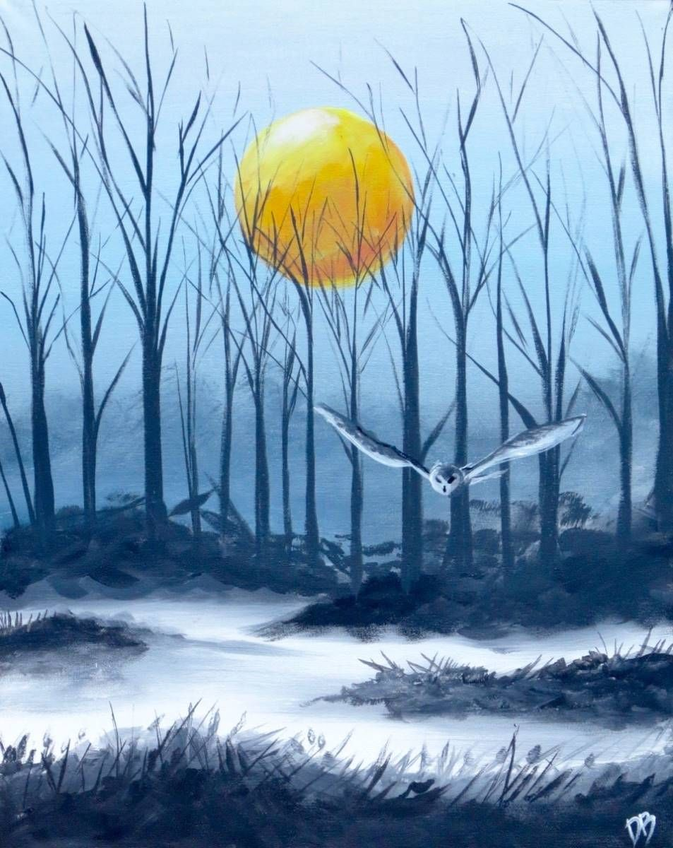 Dusk Owl Misty Forest Sunset Painting Painting