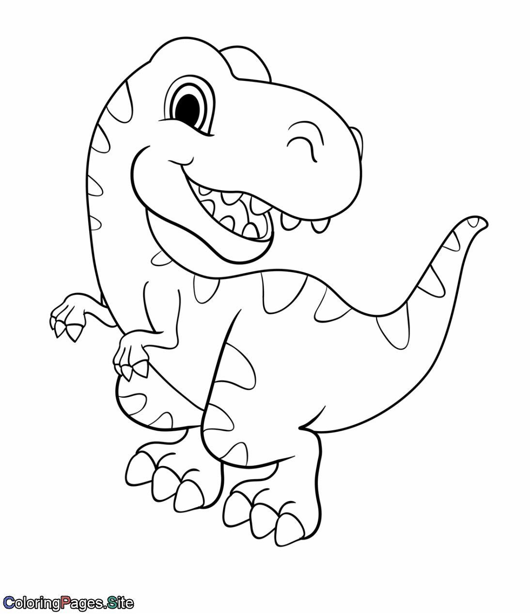 Dinosaur Coloring Pages Cute Cartoon Dinosaur Coloring