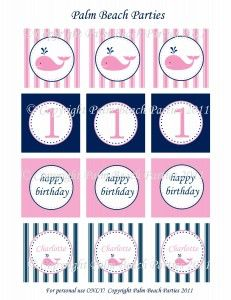 Pink and Navy Whale Girl Party Circles