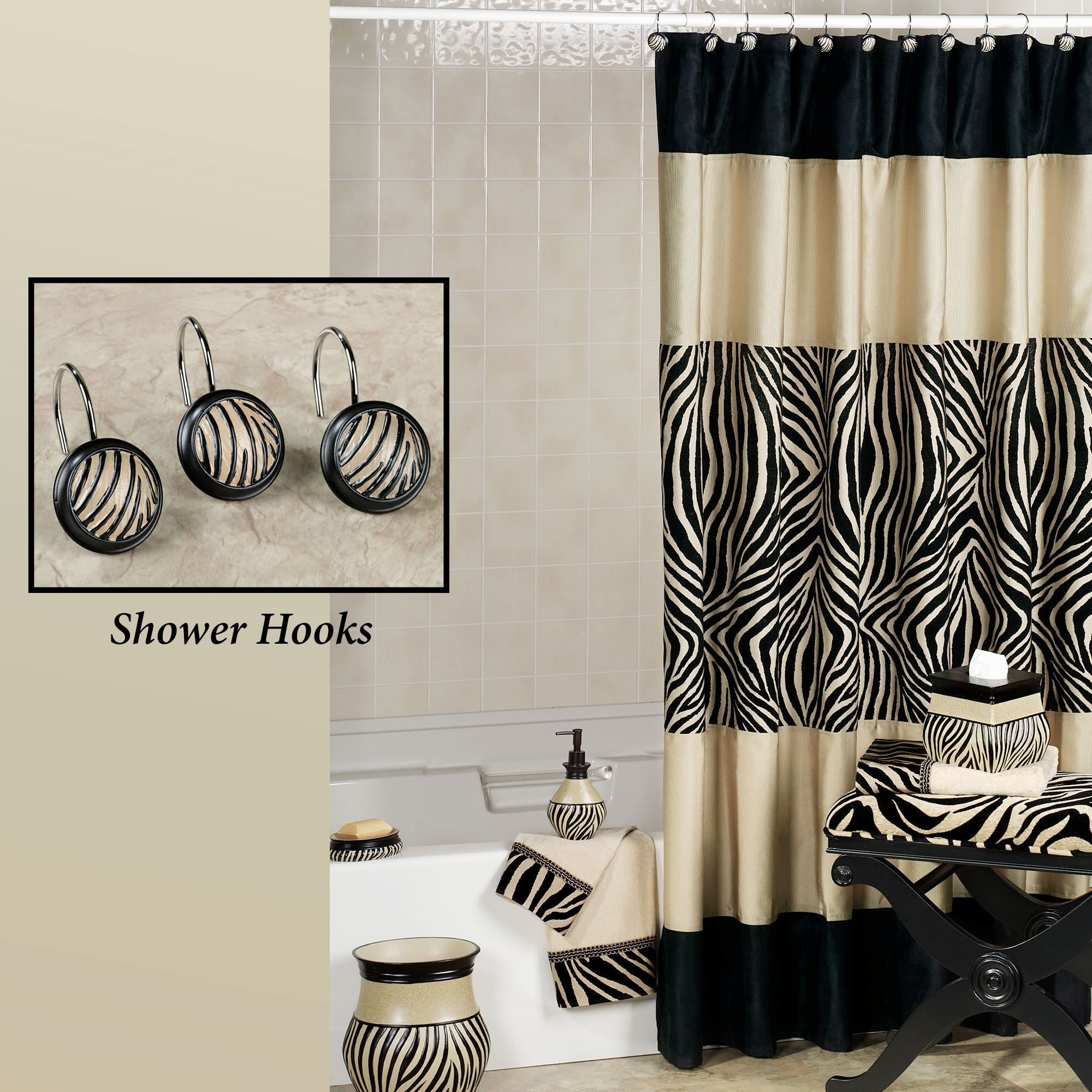 Zuma Zebra Shower Curtain And Hooks Curtains Zebra Print