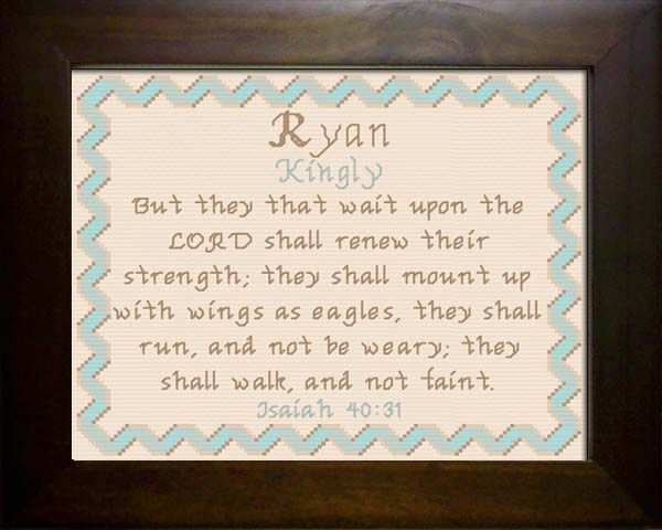Cross Stitch Ryan with a name meaning and a Bible verse ...