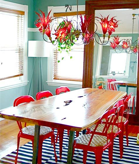 Charming Love These Chairs With The Wood Table  Sneak Peek: Best Of Red! The Red  Chairs In This Boston Home Add A Pop Of Color To The Dining And Perfectly  Compliment ...