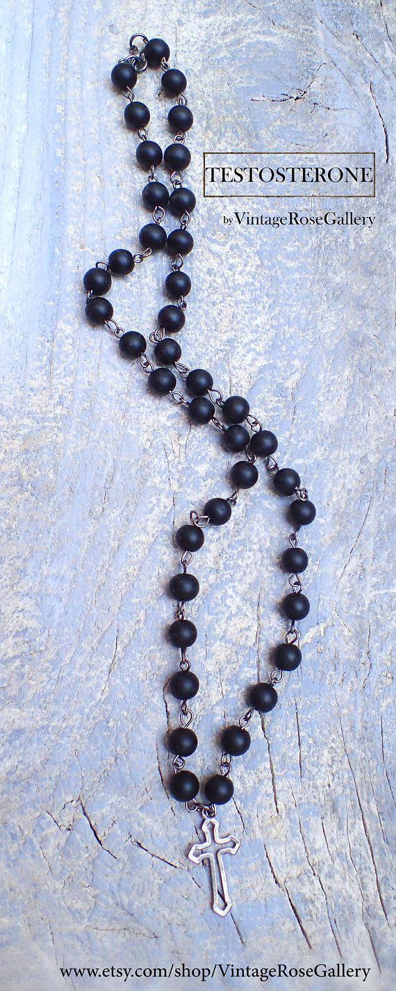 Mens cross rosary long necklace vintagerosegallery etsy