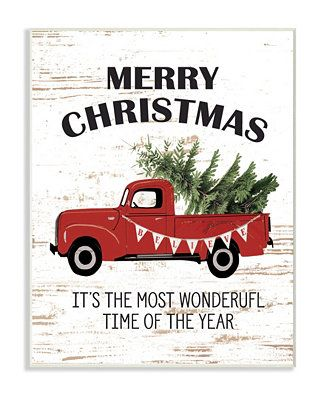 Christmas Most Wonderful Time Vintage-Inspired Truck Wall Plaque Art, 12.5