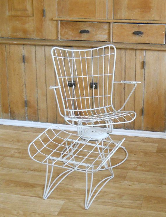 Homecrest Patio Furniture Replacement Slings: Vintage Homecrest Chair And Ottoman Mid Century Patio Wire