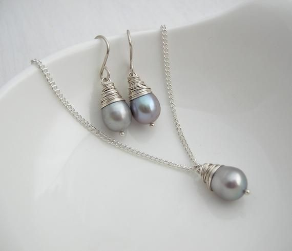 Grey Pearl Baroque Necklace And Earring Set Bridesmaid Jewellery Small Earrings Wedding Jew