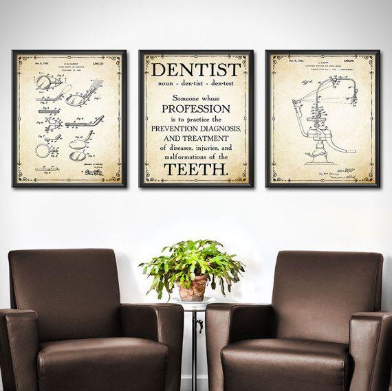 Dentist Office Decor Set Of 3 Dentist Wall Art Wall Decor Etsy Doctors Office Decor Orthodontist Office Decor Football Wall Art