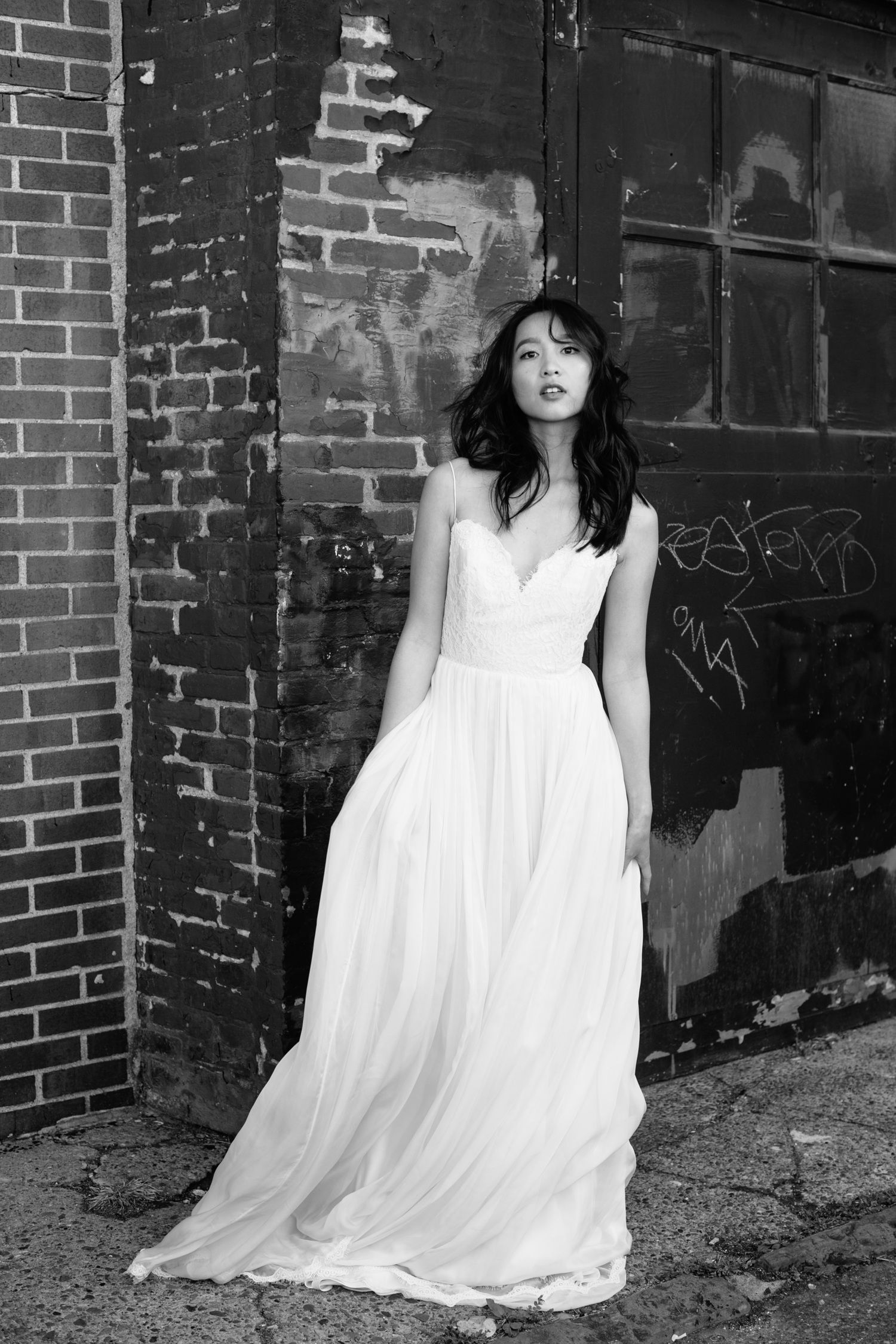 Airbrushed wedding dress  Pretty On ArrivalBlog Photography by Tricia Farley Model Ameeda Lor
