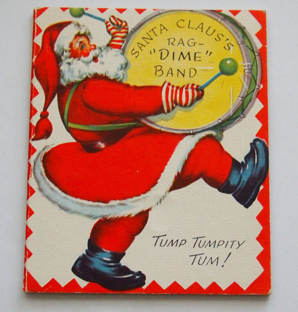Vintage 1950s Dime Coin Money Christmas Card Holder Santa Claus