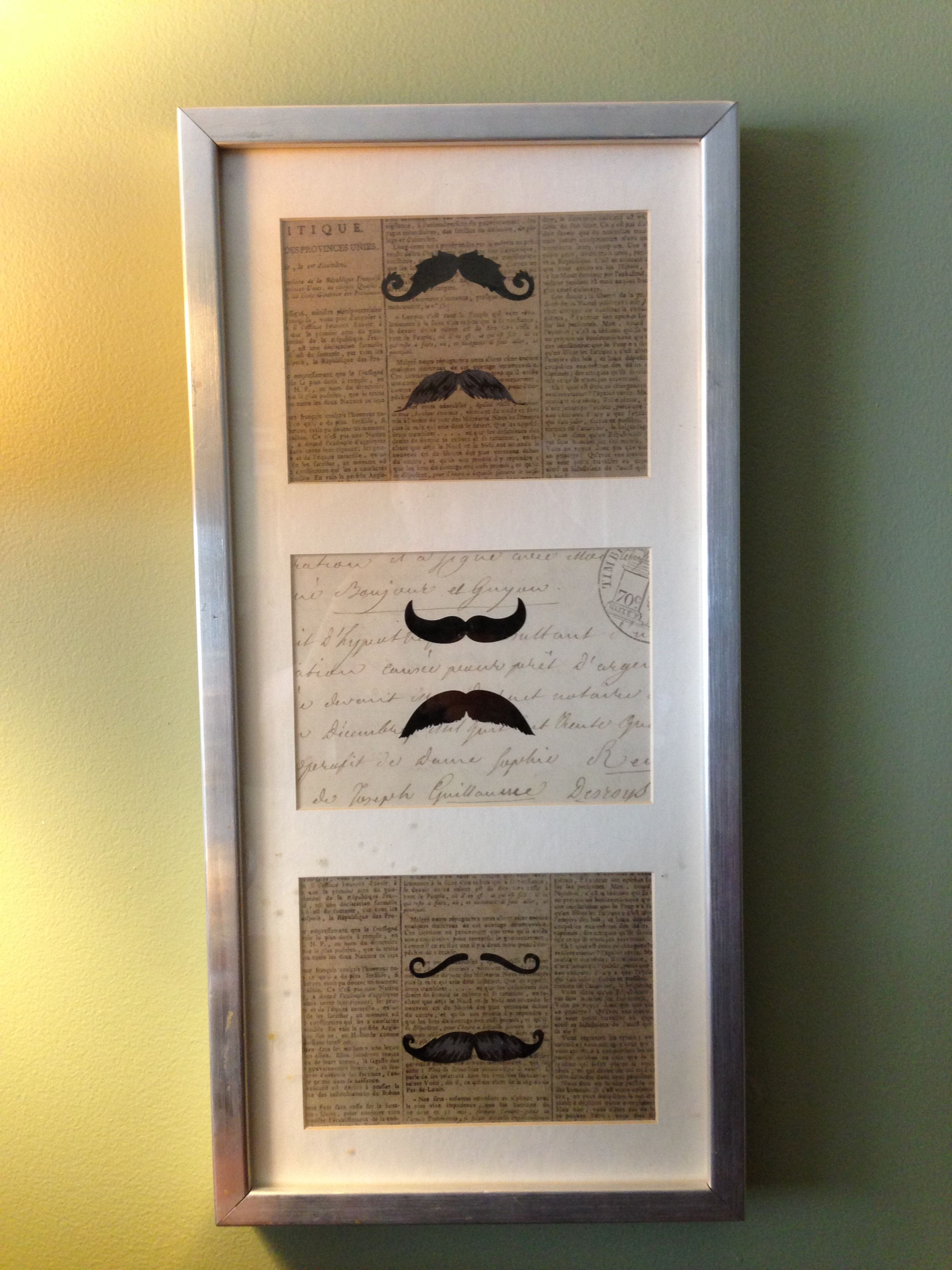 Easy And Inexpensive DIY Mustache Home Decor. Ikea RIBBA Frame, Scrap Book  Paper Of