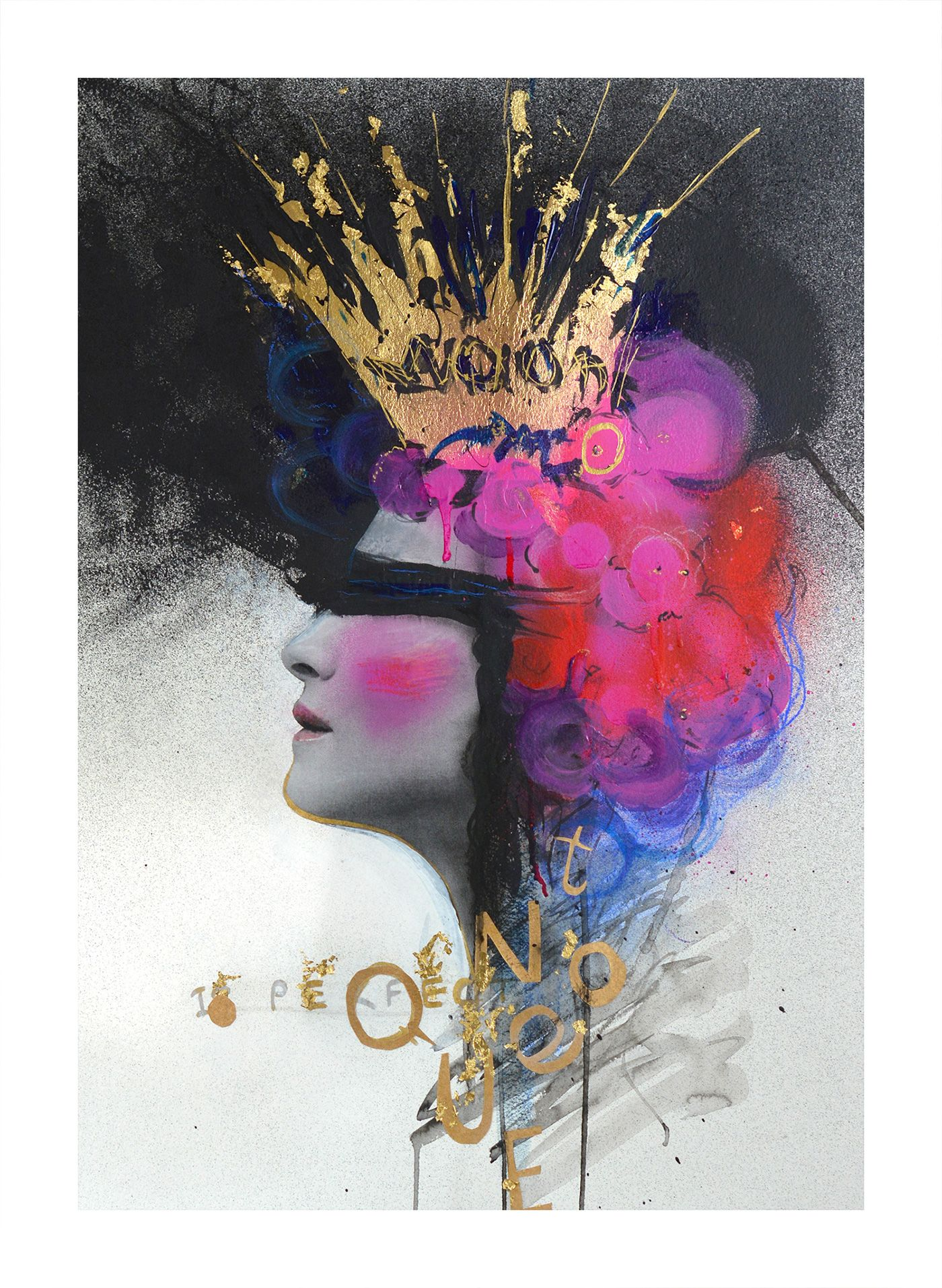 Queen Portrait Abstract Painting Drawing Analog Collage Gold