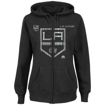 Women S Los Angeles Kings Majestic Black Goal Line Full Zip Hoodie Medium Full Zip Hoodie Hoodies Sweatshirts