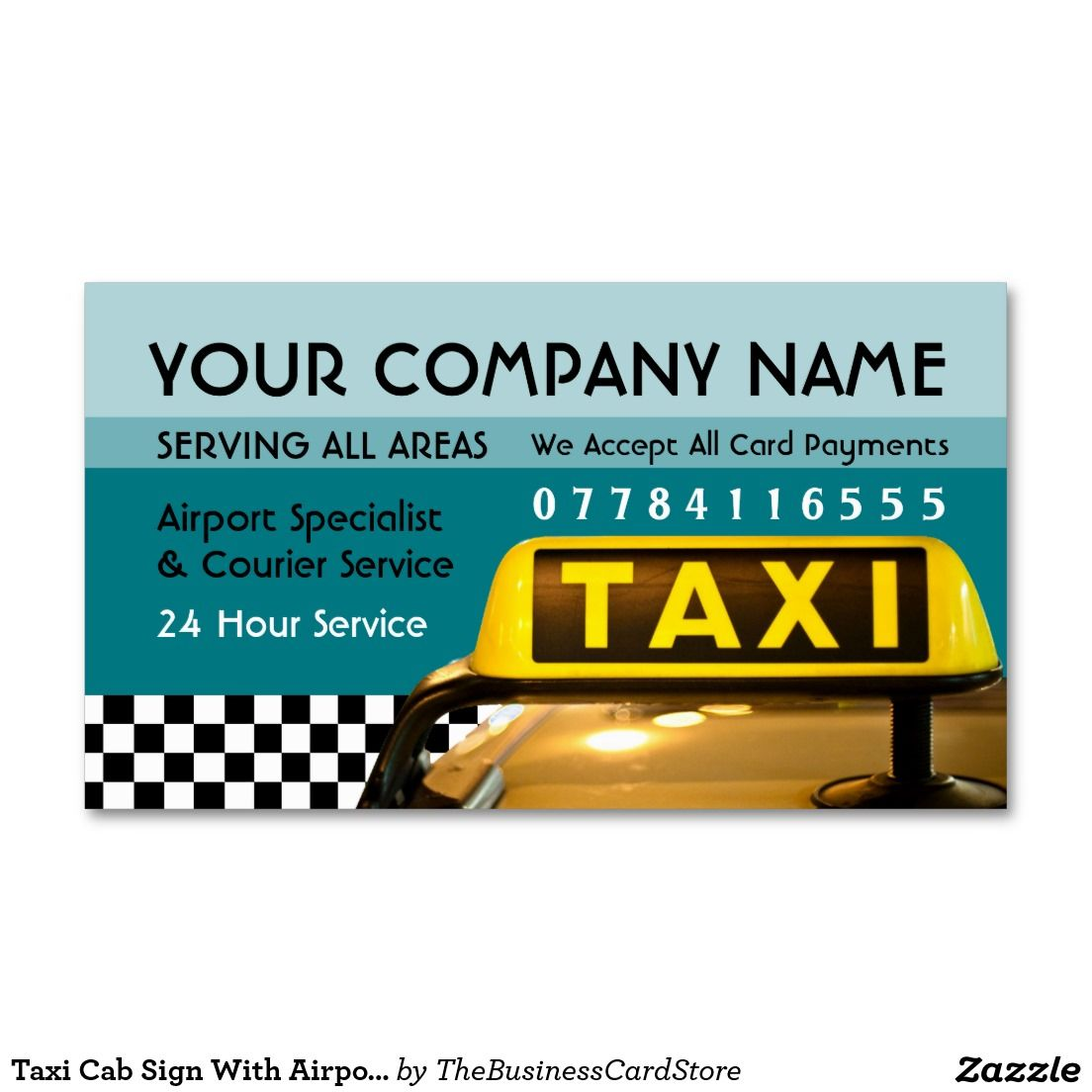 Taxi Cab Sign With Airport And Station Price Lists Business Card ...