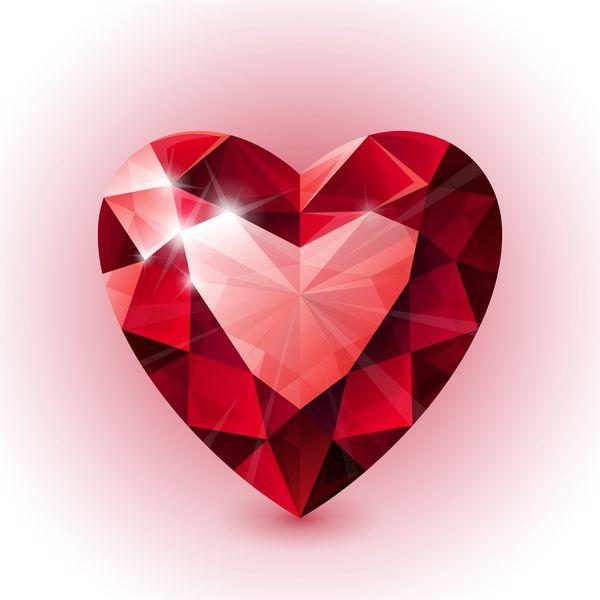 赤いハート形ダイヤモンド ベクトル イラスト 06 - WeLoveSoLo