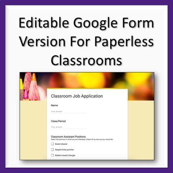 Classroom Job Application  Wanted Poster Organize Classroom